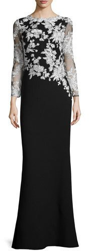 Contrast Around The Waist Creates A Slimming Effect At Midsection Look And Feel Stunning In This Long Sleeved Black White Gown By Tadashi Soji